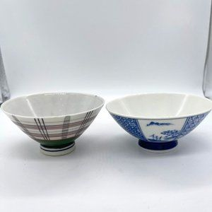 2 VINTAGE Japanese Rice or Soup Bowls Hand-Painted